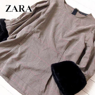ZARA - 超美品 (EUR)L ザラ ZARA WOMAN 袖ファー カットソー