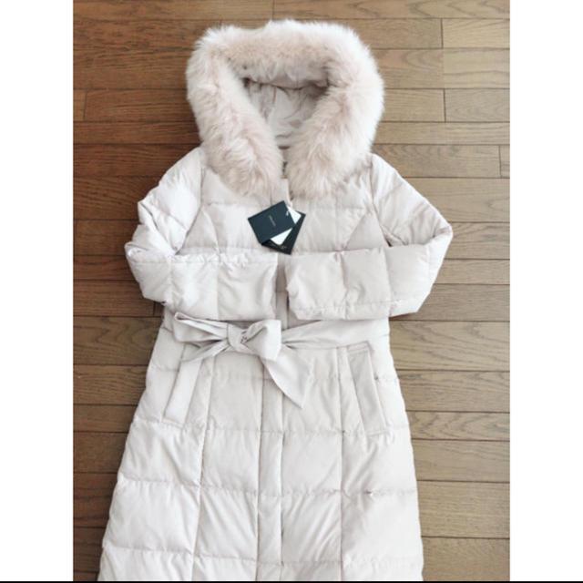 JUSGLITTY(ジャスグリッティー)の今季新品 ジャスグリッティー ファー ロングダウンコート ピンクベージュ 2 M レディースのジャケット/アウター(ダウンコート)の商品写真