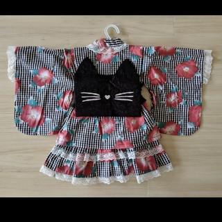 【新品未使用】浴衣ドレス 3点セット 女の子 帯付き ネコ帯 100cm