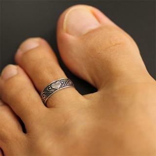 トゥーリング 足 指輪 シルバー 925 サイズ調整可 シンプル メンズ ハート(リング(指輪))