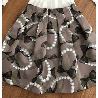 M'S GRACY - エムズグレーシー(5)リボンとパール柄スカート 40 サイズ クリーニング済み