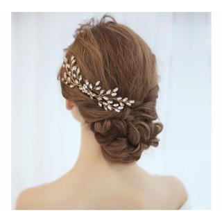 美品 ゴールドヘッドドレス(ウェディングドレス)