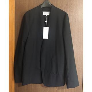 マルタンマルジェラ(Maison Martin Margiela)の19AW新品46 メゾンマルジェラ ノーカラージャケット 今期 黒 ブラック(ノーカラージャケット)