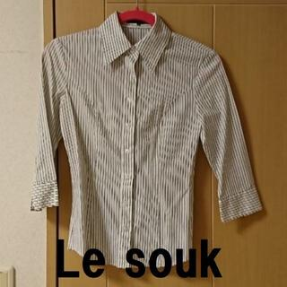 ルスーク(Le souk)の★格安 Le souk(ルスーク)七分袖シャツ ストライプ白×黒★(シャツ/ブラウス(長袖/七分))