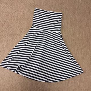 ジーユー(GU)の新品 GU ボーダー柄フレアスカート(ひざ丈スカート)