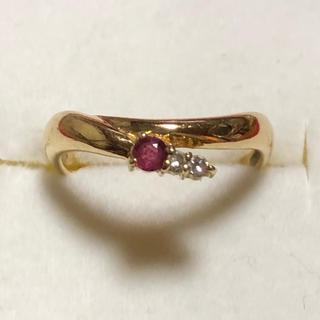 ELLE - ELLE エル K18 YG ルビー ダイヤ リング 指輪