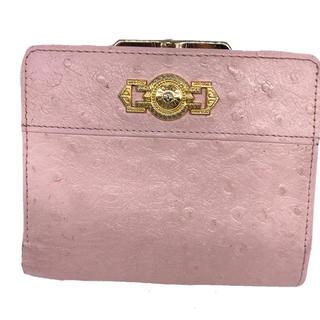 ジャンニヴェルサーチ(Gianni Versace)のベルサーチ本革レザーオーストリッチ型押し折財布 (財布)