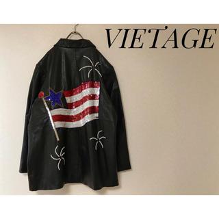 Harley Davidson - 【アメリカ輸入古着・日本未発売】USED アメリカ国旗 レザージャケット