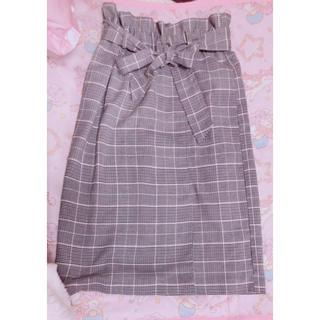 ウィゴー(WEGO)のグレンチェック グレー ピンク チェック  スカート(ロングスカート)