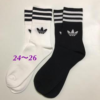 adidas - 【24〜26㎝】靴下 白・黒 2足