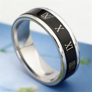 ブラック ローマ字リング ステンレスリング ステンレス指輪 ピンキーリング(リング(指輪))