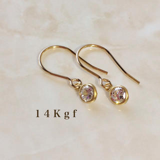 agete - 14Kgf/K14gf 一粒ダイヤCZフックピアス/一粒ダイヤピアス 4ミリ