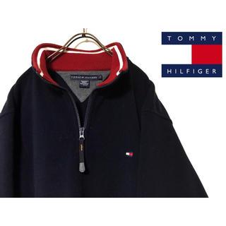 TOMMY HILFIGER - トミーヒルフィガー☆ワンポイント刺繍ロゴ ハーフジップフリース