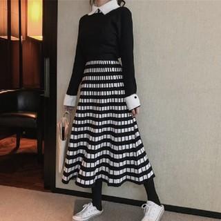 dholic - 【即納】格子柄 ニット プリーツスカート