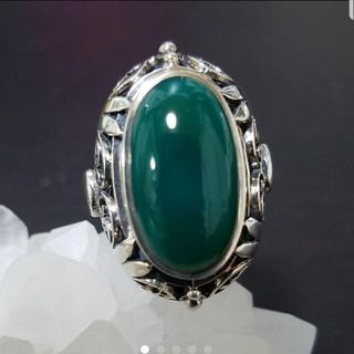 細工が美しいグリーンカルセドニーリング(リング(指輪))