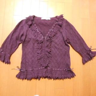 美品☆ピンクハウスの2010年お花モチーフ付き7分袖ニットカーディガン