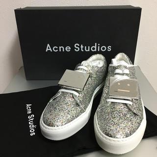アクネ(ACNE)の新品 acne studios アクネ フェイス スニーカー シルバーラメ 40(スニーカー)