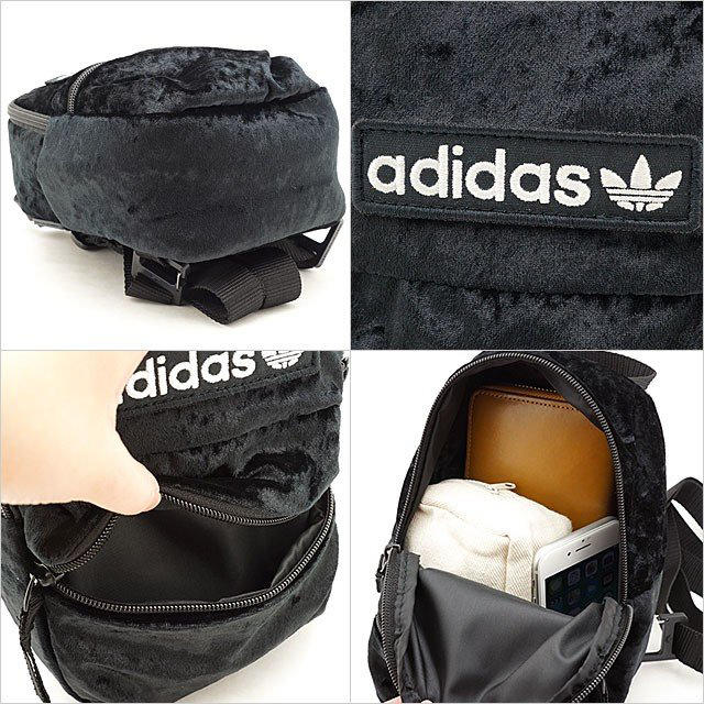 adidas(アディダス)の黒 ベルベット ミニリュック ミニバックパック レディースのバッグ(リュック/バックパック)の商品写真