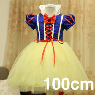 【100cm】 白雪姫ワンピース 子供用 コスプレ♪ ハロウィン(ワンピース)