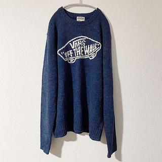 ヴァンズ(VANS)のVANS デカロゴ ニットセーター フリーサイズ ネイビー メンズ 古着(ニット/セーター)