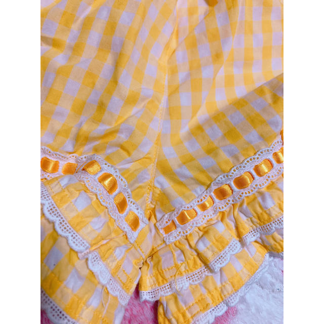 Shirley Temple(シャーリーテンプル)の【良品】100 半袖 夏もの セットアップ シャーリーテンプル 黄色 ギンガム キッズ/ベビー/マタニティのキッズ服女の子用(90cm~)(Tシャツ/カットソー)の商品写真