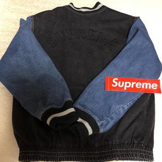 Supreme - supreme denim varsity jacket