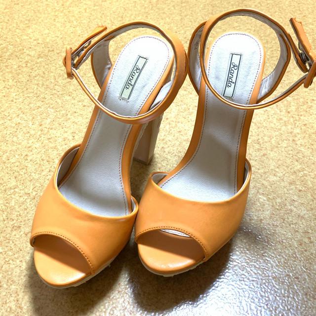 RANDA(ランダ)のRANDA エンブロイダリーヒールサンダル 刺繍 オレンジ Mサイズ レディースの靴/シューズ(サンダル)の商品写真