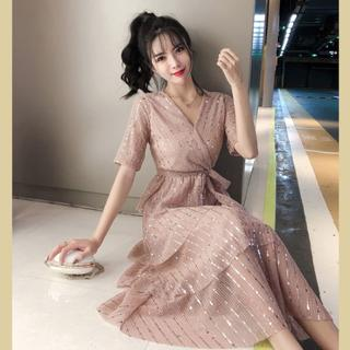 レースラメドレス ウエストリボン 【М】韓国風 ピンク