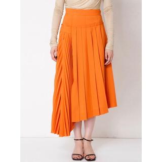 ルシェルブルー(LE CIEL BLEU)の◆今季新作・新品◆ IRENE アシンメトリープリーツスカート 36 オレンジ(ロングスカート)
