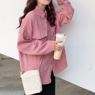 【F】コーデュロイ シャツ ブルゾン ゆったり ピンク 韓国ファッション(ポロシャツ)