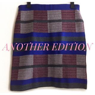 アナザーエディション(ANOTHER EDITION)のAnother Edition【未使用、美品】マルチ 総柄 ニット スカート(ミニスカート)
