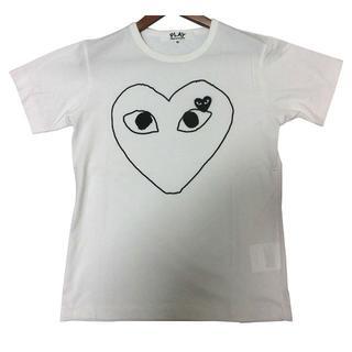コムデギャルソンTシャツplayTシャツ男女兼用黒ハート白x黒 XLサイズ