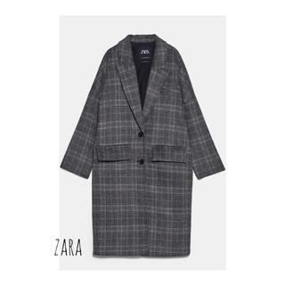 ZARA - zaraチェック柄オーバーコート 新品 S