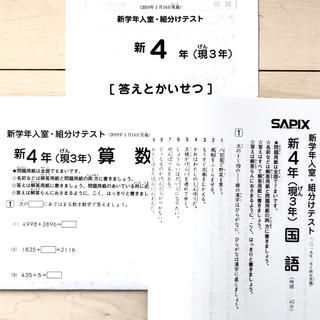 ●送料無料●  サピックス 現3年新4年 2019年1月入室組分けテスト