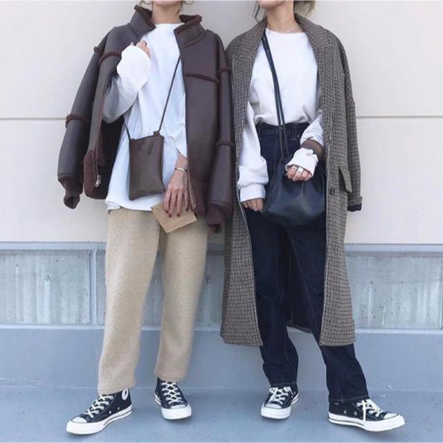 ZARA(ザラ)のザラ チェック柄オーバーサイズコート レディースのジャケット/アウター(ロングコート)の商品写真