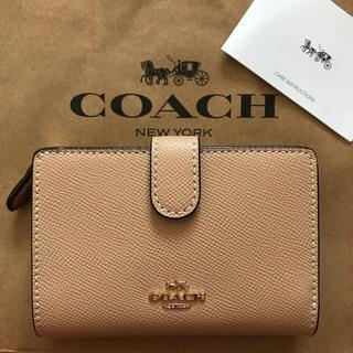 COACH - 新品!コーチ 二つ折り財布 ベージュ