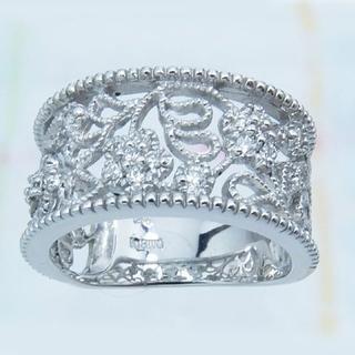 透かし模様★K18WG天然ダイヤモンド・リング(新品)(リング(指輪))