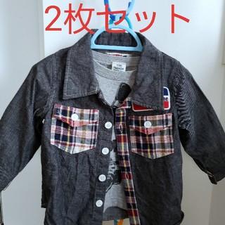 Biquette - ネルシャツ & ロングTシャツ 【2枚セット】