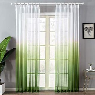 Topfinel レースカーテン 北欧風 UVカット(紫外線) 遮熱  グリーン