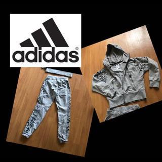 adidas - adidas セットアップ レオパード柄 グレー ショート丈 部屋着 スポーツ