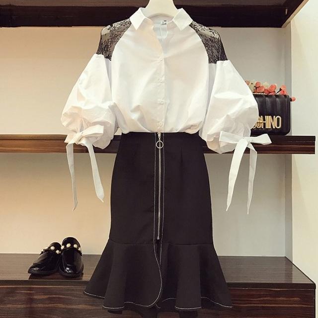 【即購入OK】大きいサイズ フェミショルトップス&スカート 2点セット レディースのトップス(シャツ/ブラウス(半袖/袖なし))の商品写真