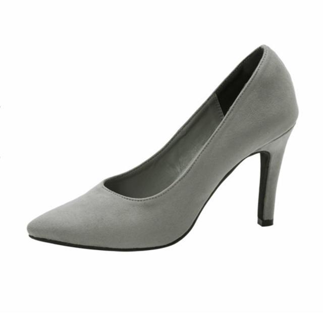 夢展望(ユメテンボウ)の小顔パンプス 9.5センチヒール グレー レディースの靴/シューズ(ハイヒール/パンプス)の商品写真