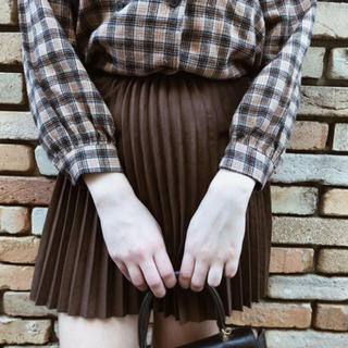 Ameri VINTAGE - suède pleats mini skirt