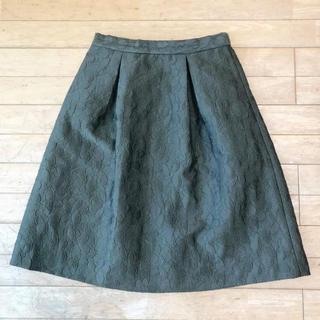 テチチ(Techichi)のフラワー刺繍 タックフレアスカート(ひざ丈スカート)