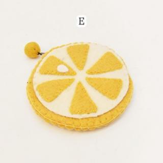 merlot - 【Fillil/フィリル】とれたて♪フルーツ型フェルトポーチ E レモン