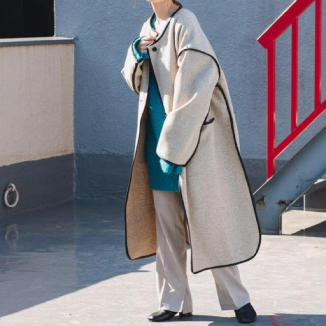 Kastane(カスタネ)のkastane サテンライナー付きパイピングコート レディースのジャケット/アウター(ロングコート)の商品写真