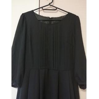 黒 フォーマル ミモレ丈ワンピース 美品 冠婚葬祭(ロングワンピース/マキシワンピース)