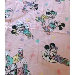 ディズニー(Disney)のミッキー ミニー ハート柄ピンク ビンテージシーツ レア(生地/糸)