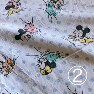 ディズニー(Disney)のベビーミッキー ミニー ビンテージシーツ ドット ②(生地/糸)