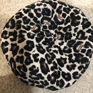 エイチアンドエム(H&M)のヒョウ柄 ベレー帽(ハンチング/ベレー帽)